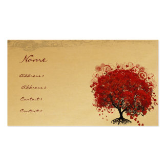 Red Heart Leaf Tree Roots Swirls Hearts Business Card Templates