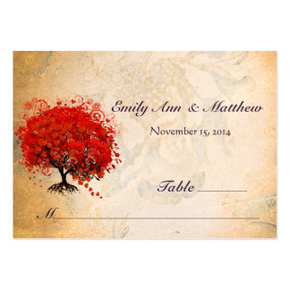Red Heart Leaf Tree Table Place Cards Business Card Templates