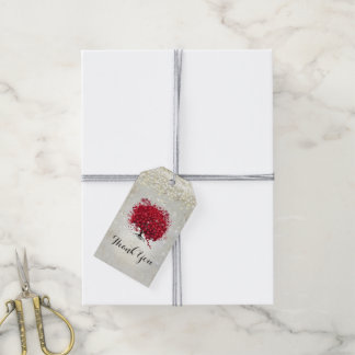 Red Heart Leaf Tree Under the Stars Gift Tags