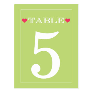 Red Heart Lime Green Wedding Table Number Cards