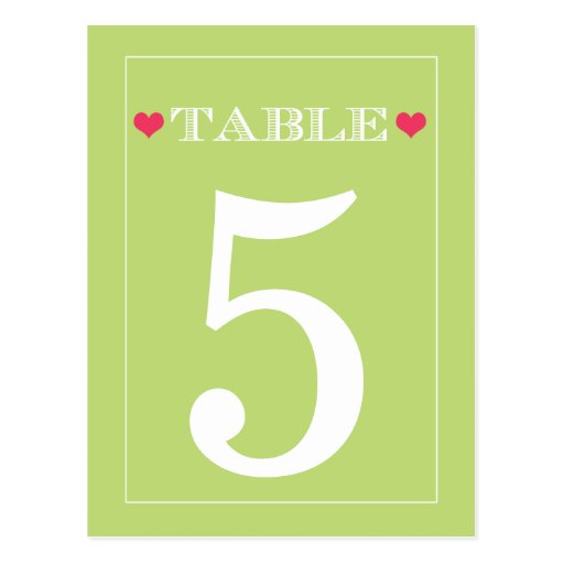 Red Heart Lime Green Wedding Table Number Cards Post Card
