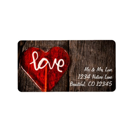 Red Heart Love Lollipop and Rustic Barn Wood Label