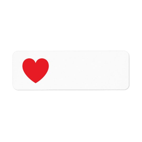 Red heart love or Valentines day Return Address Label