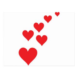 Red Heart Love Rain - Valentine�s Day Postcard