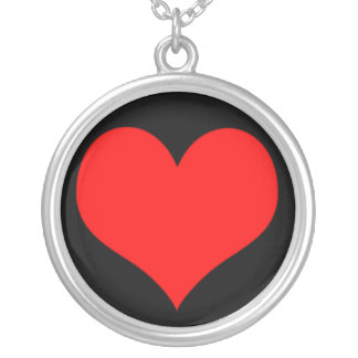 Red Heart, Love, Valentine Custom Background Color Round Pendant Necklace