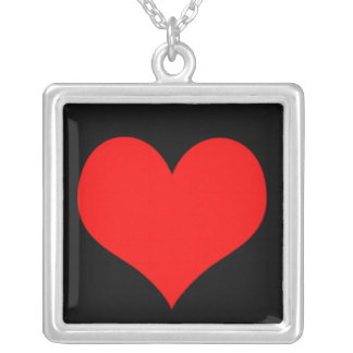 Red Heart, Love, Valentine Custom Background Color Square Pendant Necklace
