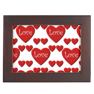 Red heart love wooden border keepsake box
