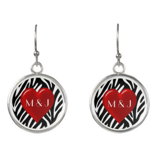 Red Heart Lovers and Zebra Print with Custom Names Earrings