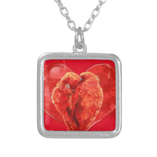 Red heart. Loving parrots. Silver Plated Necklace