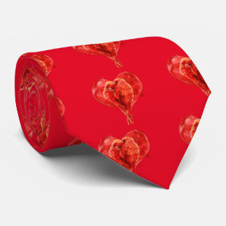 Red heart. Loving parrots. Tie