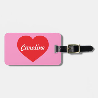 Red heart luggage tag
