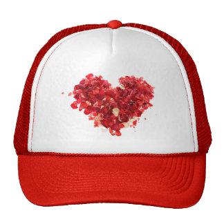 Red Heart made of rose petals Cap
