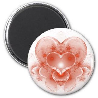 Red Heart 6 Cm Round Magnet
