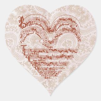 Red Heart Medieval Music Manuscript Heart Sticker