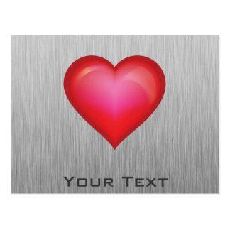 Red Heart; metal-look Postcard