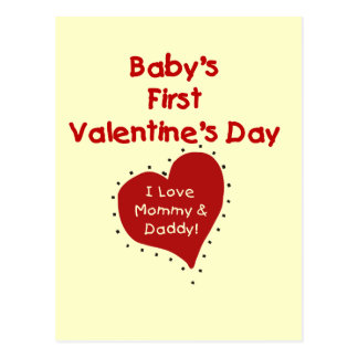 Red Heart Mommy and Daddy Valentine Post Cards
