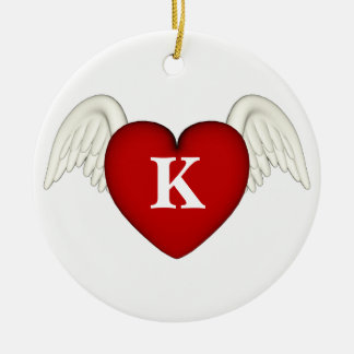 Red Heart Monogram Angel Wings Ornament