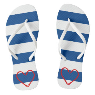 RED HEART NAUTICAL FLIP FLOPS