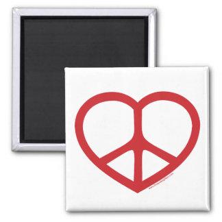 Red Heart of Love, Peace Sign Fridge Magnet