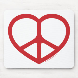 Red Heart of Love Peace Sign Mousepads
