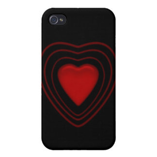 red heart on black cover for iPhone 4