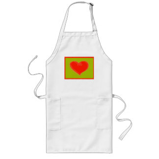 Red  heart  on  green long apron