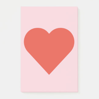 Red Heart on Pink Background Post-It Note