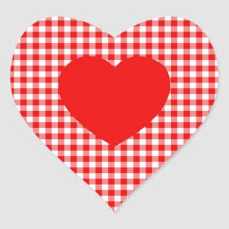 Red Heart on Red Gingham Heart Sticker