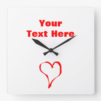 Red Heart on White. Square Wall Clock