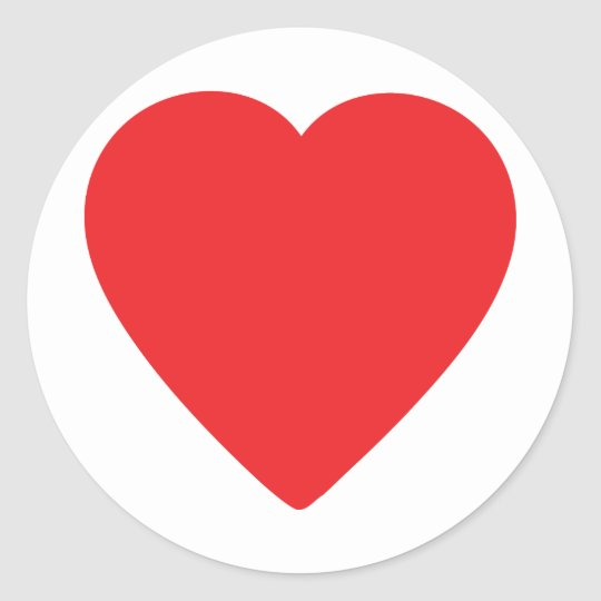 red heart one classic round sticker