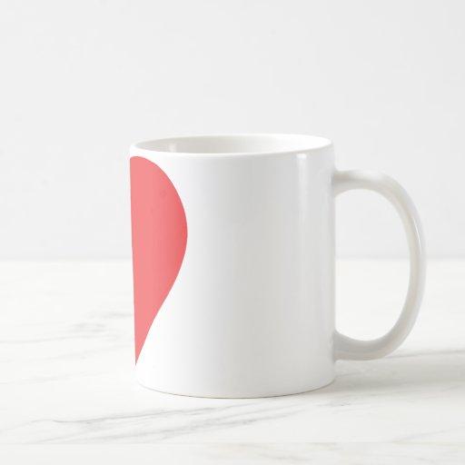 red heart one classic white coffee mug