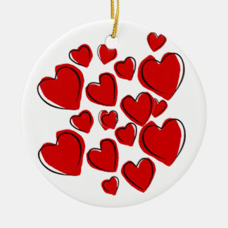 Red heart Ornament with love