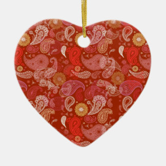 Red heart paisley ceramic heart decoration