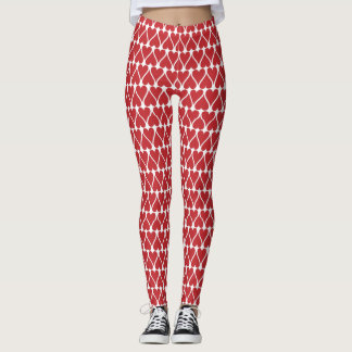 Red Heart Pattern Leggings