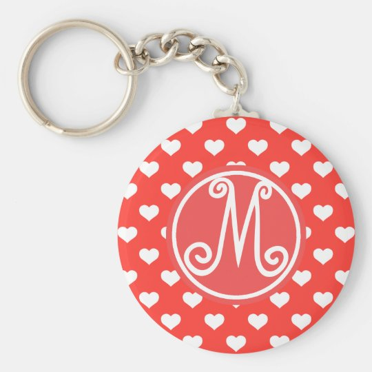 Red Heart Pattern Monogrammed Basic Round Button Key Ring