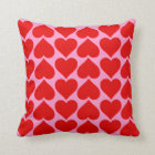 Red Heart Pattern on Pink Valentine Custom Colour Cushion