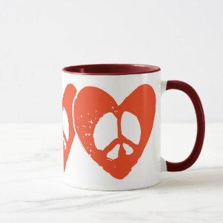 Red Heart Peace Sign Mug
