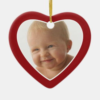 Red Heart Photo Frame - Single Sided Christmas Ornament