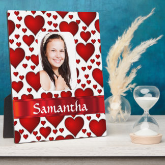 Red heart photo template plaque