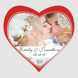 Red Heart Photo Wedding Stickers