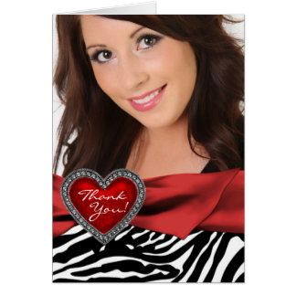 Red Heart Photo Zebra Thank You Cards