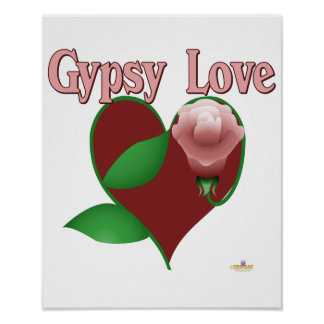 Red Heart Pink Rose Gypsy Love Posters