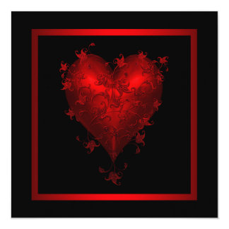 Red Heart Red Black Wedding Invitations