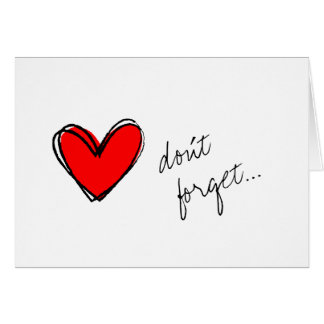 Red Heart Reminder Note Card