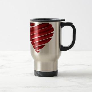 Red heart ribbon coffee mugs
