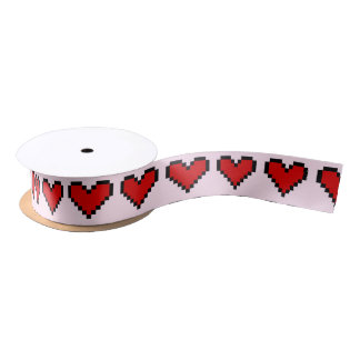Red heart ribbon with pixel art love symbol satin ribbon