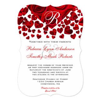 Red Heart Roses Wedding Invitation