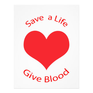 Red heart save a life give blood donation flyer