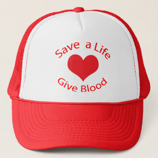 Red heart save a life give blood donation hat, cap