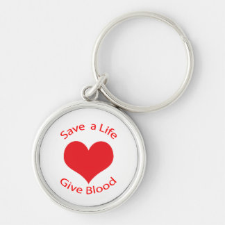 Red heart save a life give blood donation keychain